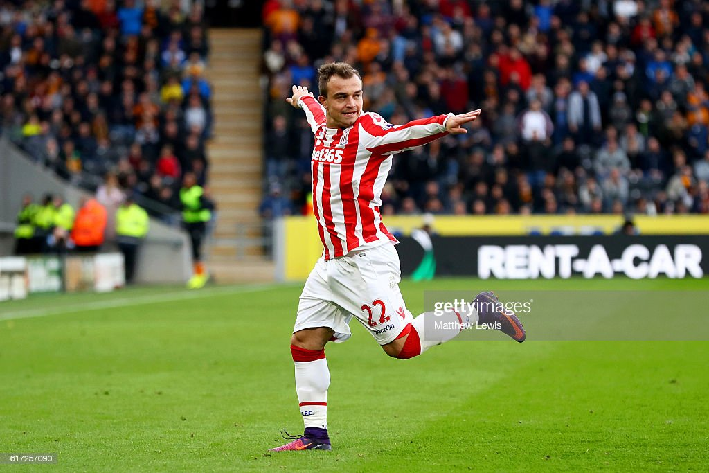 Xherdan Shaqiri of Stoke City celebrates scoring his team's second goal during the Premier League match between Hull City and Stoke City at KCom Stadium on October 22, 2016 in Hull, England.