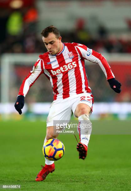 Xherdan Shaqiri of Stoke City controls the ball during the Premier League match between Stoke City and Swansea City at Bet365 Stadium on December 2...