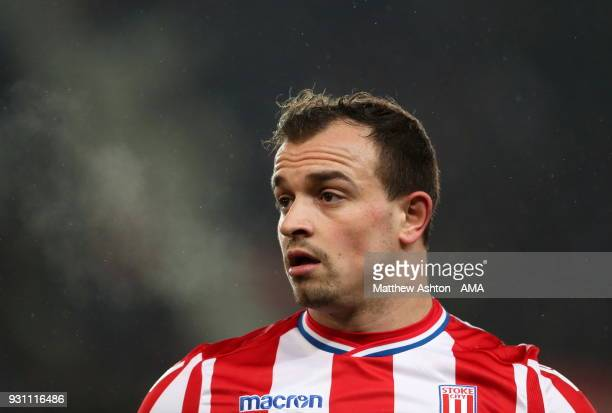 Xherdan Shaqiri of Stoke City during the Premier League match between Stoke City and Manchester City at Bet365 Stadium on March 12 2018 in Stoke on...