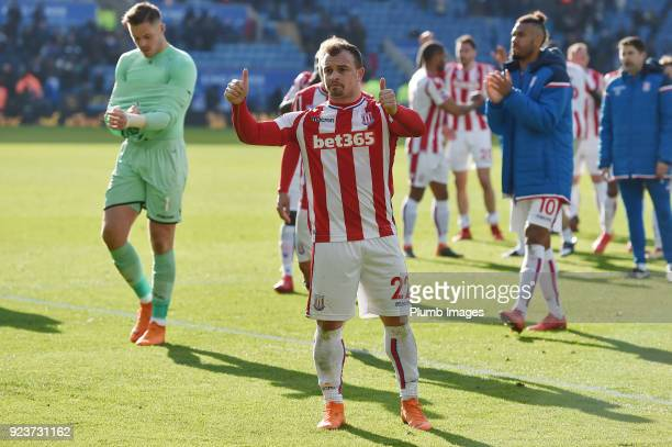 Xherdan Shaqiri of Stoke City gives a thumbs up to travelling fans after the Premier League match between Leicester City and Stoke City at The King...