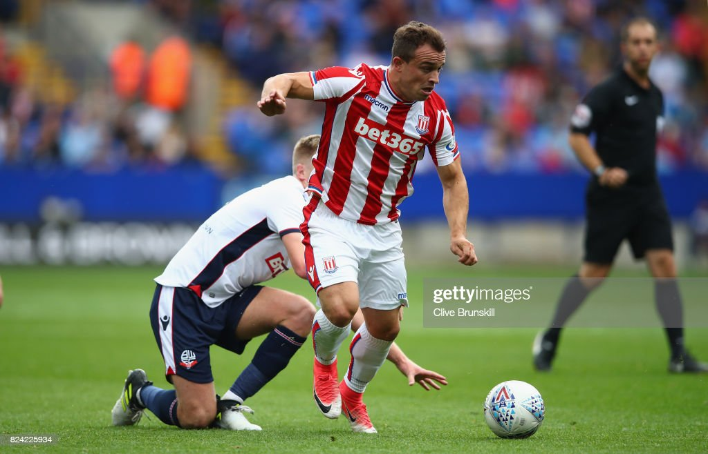 Xherdan Shaqiri of Stoke City in action during the pre season friendly match between Bolton Wanderers and Stoke City at Macron Stadium on July 29, 2017 in Bolton, England.
