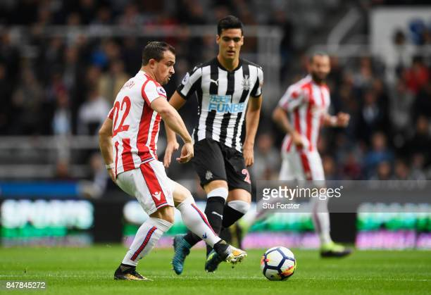 Xherdan Shaqiri of Stoke City in action during the Premier League match between Newcastle United and Stoke City at St James Park on September 16 2017...
