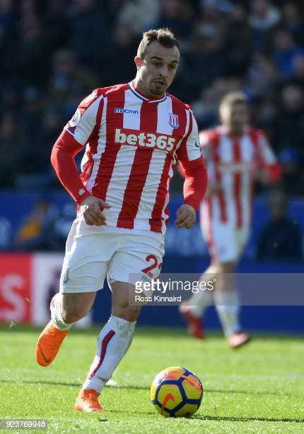 Xherdan Shaqiri of Stoke City in action during the Premier League match between Leicester City and Stoke City at The King Power Stadium on February...