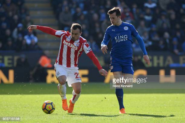 Xherdan Shaqiri of Stoke City is challenged by Ben Chilwell of Leicester City during the Premier League match between Leicester City and Stoke City...