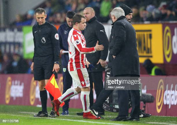 Xherdan Shaqiri of Stoke City is substituted off during the Premier League match between Burnley and Stoke City at Turf Moor on December 12 2017 in...