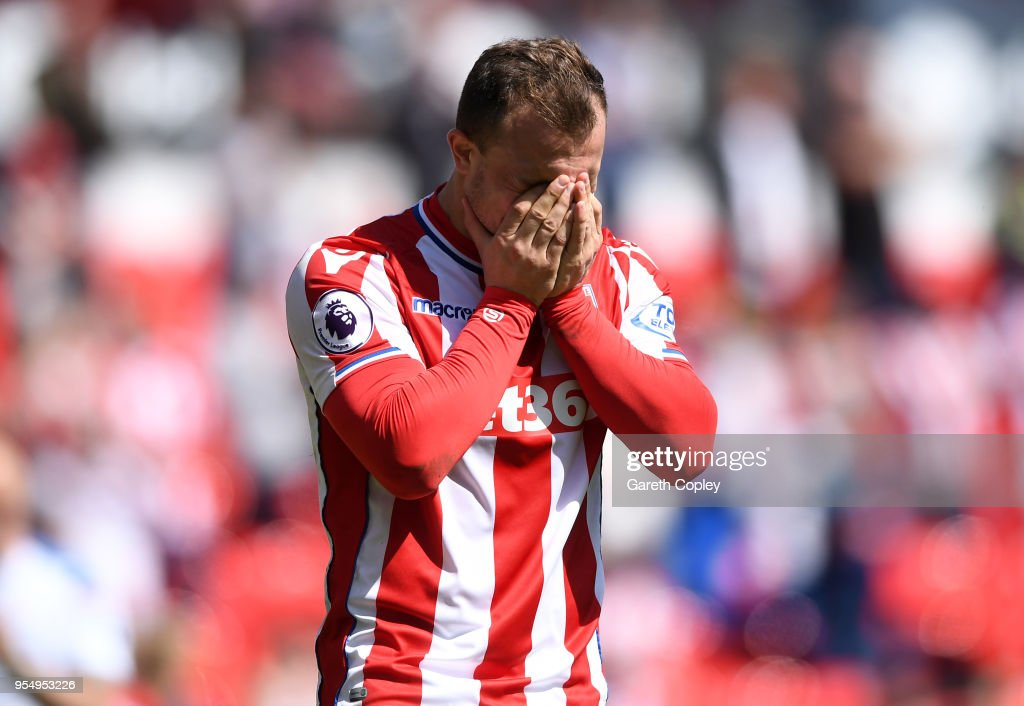 Xherdan Shaqiri of Stoke City reacts at the full time whistle after the Premier League match between Stoke City and Crystal Palace at Bet365 Stadium on May 5, 2018 in Stoke on Trent, England.