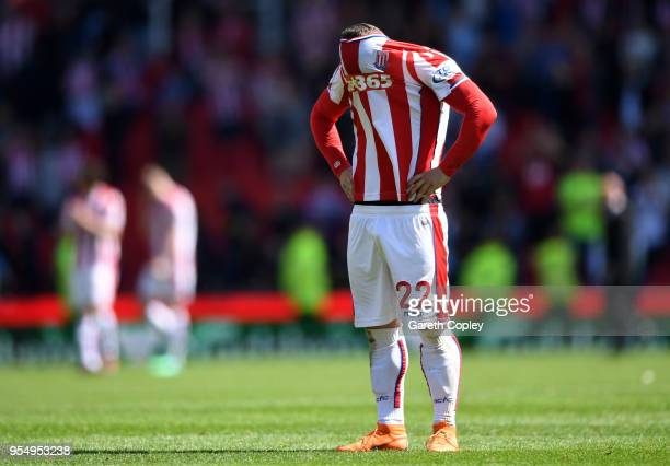 Xherdan Shaqiri of Stoke City reacts at the full time whistle after the Premier League match between Stoke City and Crystal Palace at Bet365 Stadium...