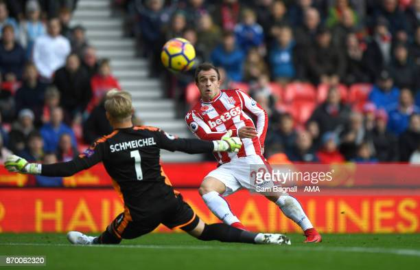 Xherdan Shaqiri of Stoke City scores a goal to make it 11 during the Premier League match between Stoke City and Leicester City at Bet365 Stadium on...