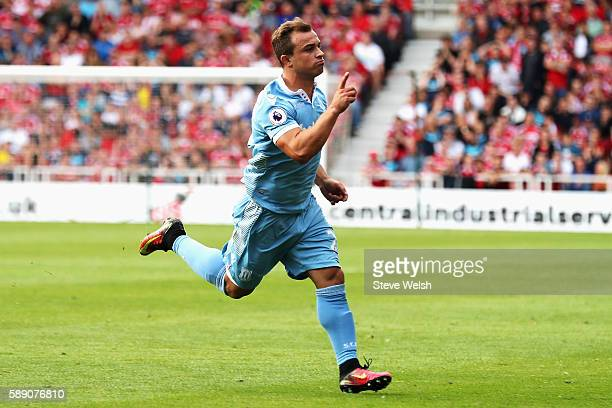 Xherdan Shaqiri of Stoke City scores his sides first goal during the Premier League match between Middlesbrough and Stoke City at Riverside Stadium...