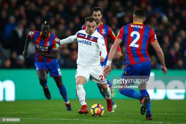 Xherdan Shaqiri of Stoke City scores his sides first goal during the Premier League match between Crystal Palace and Stoke City at Selhurst Park on...