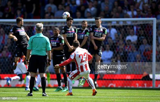 Xherdan Shaqiri of Stoke City scores his sides first goal during the Premier League match between Stoke City and Crystal Palace at Bet365 Stadium on...