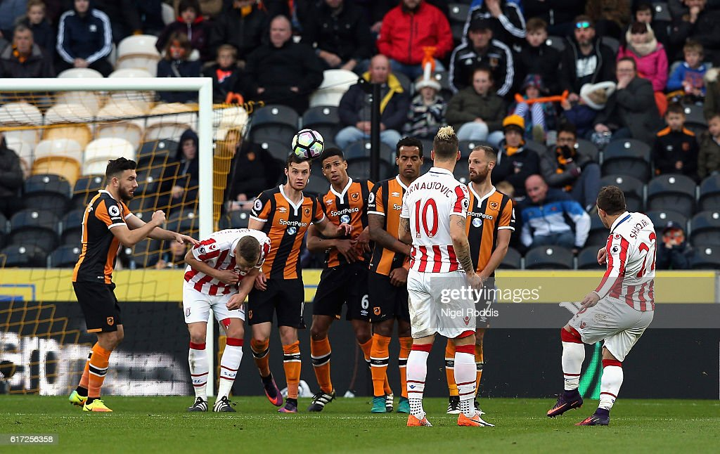 Xherdan Shaqiri of Stoke City scores his team's second goal from a free kick during the Premier League match between Hull City and Stoke City at the KCom Stadium on October 22, 2016 in Hull, England.