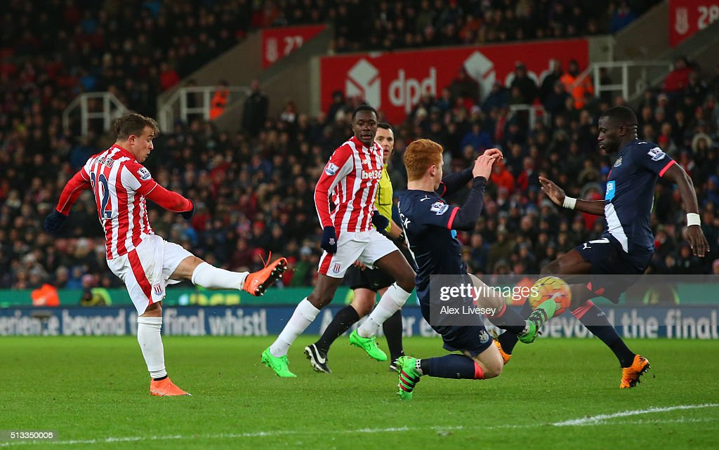 Xherdan Shaqiri of Stoke City scores the opening goal during the Barclays Premier League match between Stoke City and Newcastle United at the Britannia Stadium on March 2, 2016 in Stoke on Trent, England.
