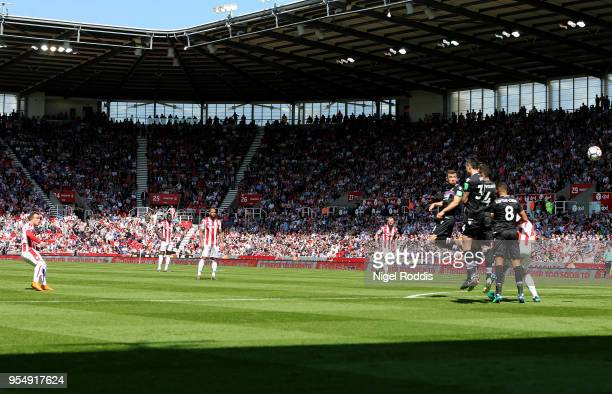 Xherdan Shaqiri of Stoke City shoots and scores his side's first goal during the Premier League match between Stoke City and Crystal Palace at Bet365...