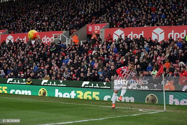 Xherdan Shaqiri of Stoke City takes a corner during the Barclays Premier League match between Stoke City and Aston Villa at the Britannia Stadium on...