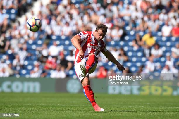 Xherdan Shaqiri of Stoke City takes a shot at goal during the Premier League match between West Bromwich Albion and Stoke City at The Hawthorns on...