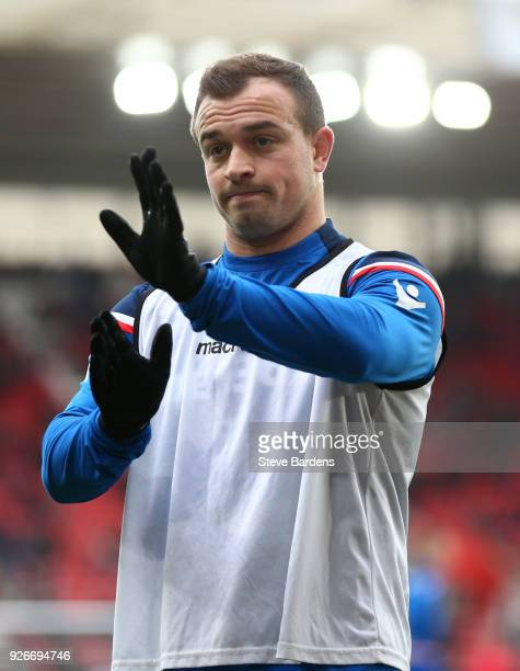 Xherdan Shaqiri of Stoke City warms up ahead of the Premier League match between Southampton and Stoke City at St Mary's Stadium on March 3 2018 in...