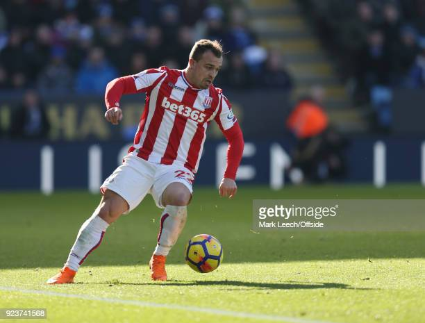 Xherdan Shaqiri of Stoke during the Premier League match between Leicester City and Stoke City at The King Power Stadium on February 24 2018 in...