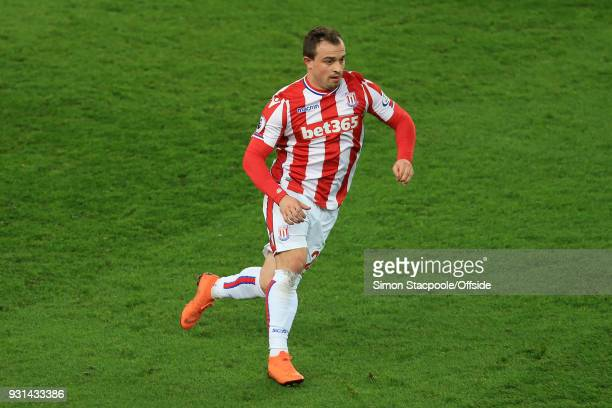 Xherdan Shaqiri of Stoke in action during the Premier League match between Stoke City and Manchester City at the Bet365 Stadium on March 12 2018 in...