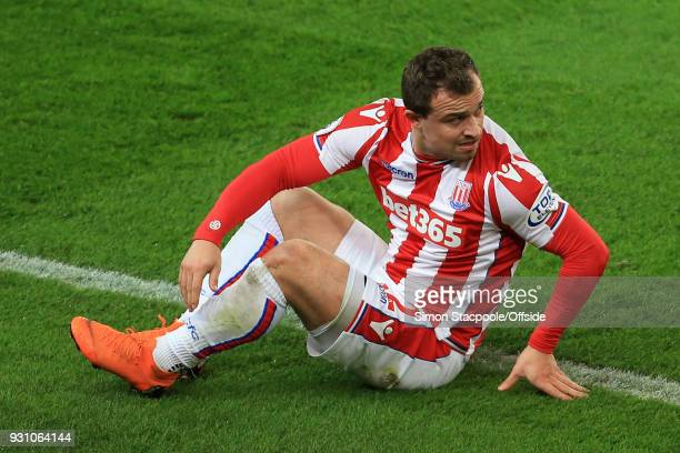 Xherdan Shaqiri of Stoke looks dejected during the Premier League match between Stoke City and Manchester City at the Bet365 Stadium on March 12 2018...