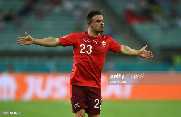 Xherdan Shaqiri of Switzerland celebrates after scoring their team's second goal during the UEFA Euro 2020 Championship Group A match between...