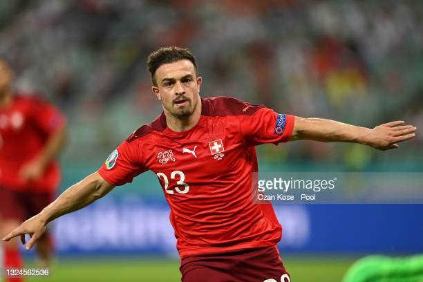 Xherdan Shaqiri of Switzerland celebrates after scoring their team's third goal during the UEFA Euro 2020 Championship Group A match between...