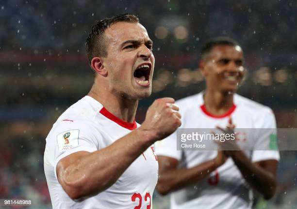 Xherdan Shaqiri of Switzerland celebrates following his sides victory in the 2018 FIFA World Cup Russia group E match between Serbia and Switzerland...