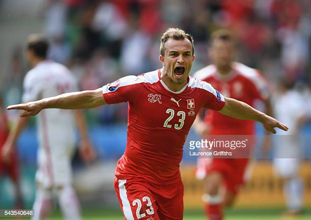 Xherdan Shaqiri of Switzerland celebrates his goal during the UEFA Euro 2016 Round of 16 match between Switzerland and Poland at Stade...