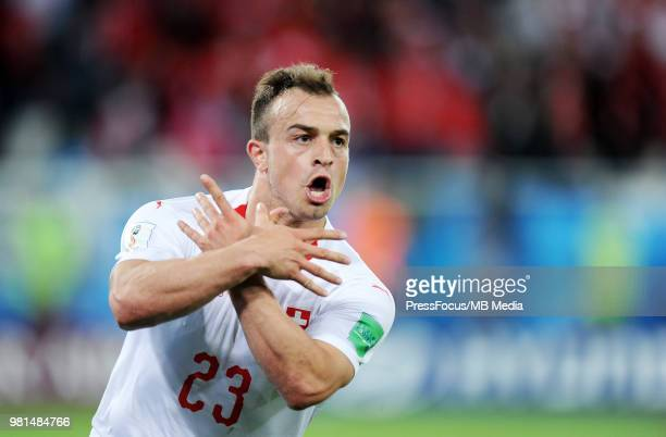 Xherdan Shaqiri of Switzerland celebrates scoring a goal during the 2018 FIFA World Cup Russia group E match between Serbia and Switzerland at...
