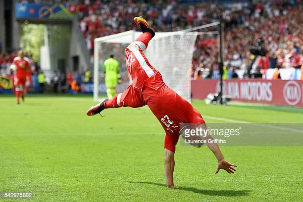 Xherdan Shaqiri of Switzerland celebrates scoring his team's first goal during the UEFA EURO 2016 round of 16 match between Switzerland and Poland at...