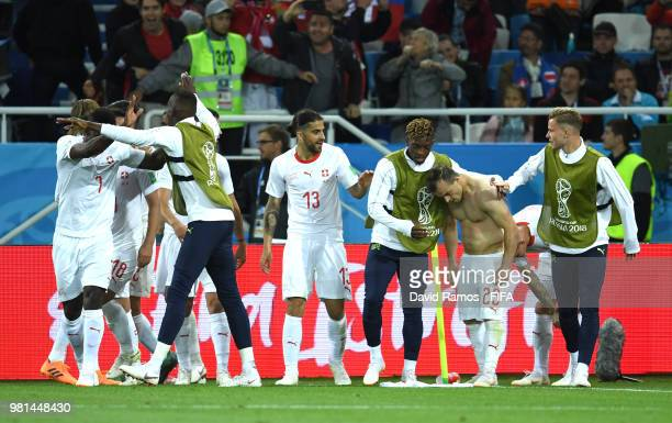 Xherdan Shaqiri of Switzerland celebrates with teammates after scoring his team's second goal during the 2018 FIFA World Cup Russia group E match...