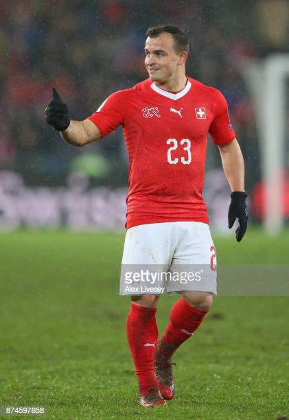 Xherdan Shaqiri of Switzerland gives a thumbs up during the FIFA 2018 World Cup Qualifier PlayOff second leg match between Switzerland and Northern...