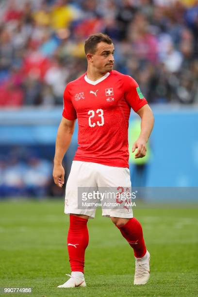Xherdan Shaqiri of Switzerland in action during the 2018 FIFA World Cup Russia Round of 16 match between Sweden and Switzerland at Saint Petersburg...