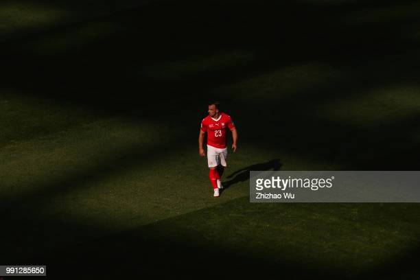 Xherdan Shaqiri of Switzerland in action during the 2018 FIFA World Cup Russia Round of 16 match between 1st Group F and 2nd Group E at Saint...