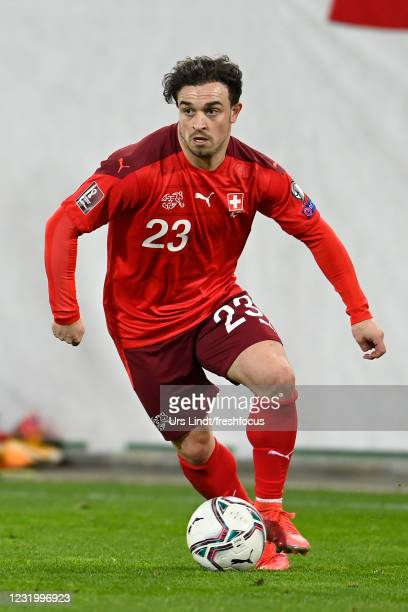 Xherdan Shaqiri of Switzerland in action during the FIFA World Cup 2022 Qatar qualifying match between Switzerland and Lithuania at Kybunpark on...
