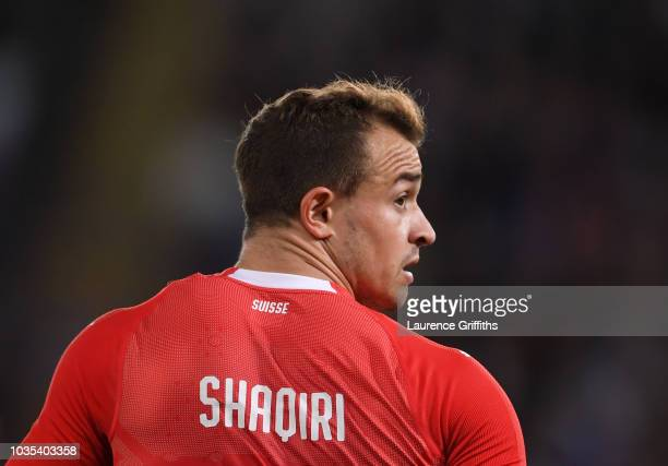 Xherdan Shaqiri of Switzerland look on during the International Friendly match between England and Switzerland on September 11 2018 in Leicester...