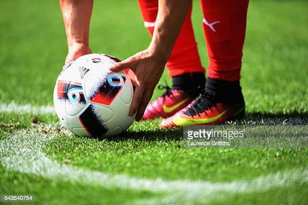 Xherdan Shaqiri of Switzerland prepares to take a corner during the UEFA Euro 2016 Round of 16 match between Switzerland and Poland at Stade...