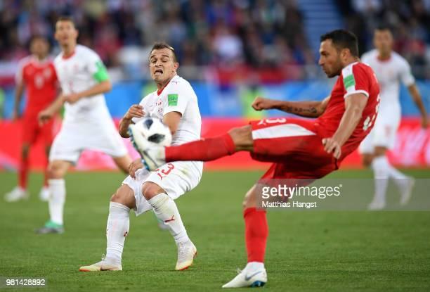 Xherdan Shaqiri of Switzerland reacts during the 2018 FIFA World Cup Russia group E match between Serbia and Switzerland at Kaliningrad Stadium on...