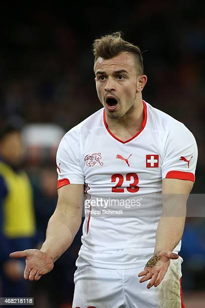 Xherdan Shaqiri of Switzerland reacts during the international friendly match between Switzerland and the United States at Stadium Letzigrund on...