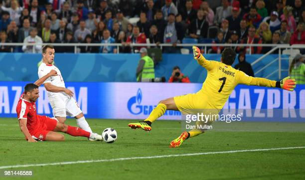 Xherdan Shaqiri of Switzerland scores his sides second goal during the 2018 FIFA World Cup Russia group E match between Serbia and Switzerland at...
