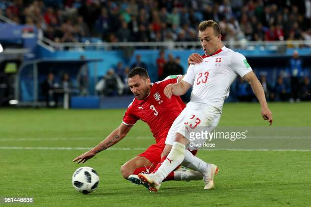 Xherdan Shaqiri of Switzerland scores his team's second goal during the 2018 FIFA World Cup Russia group E match between Serbia and Switzerland at...