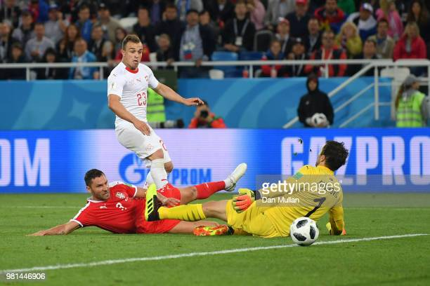Xherdan Shaqiri of Switzerland scores his team's second goal pass Vladimir Stojkovic of Serbia during the 2018 FIFA World Cup Russia group E match...