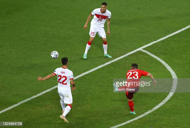 Xherdan Shaqiri of Switzerland scores their side's second goal during the UEFA Euro 2020 Championship Group A match between Switzerland and Turkey at...