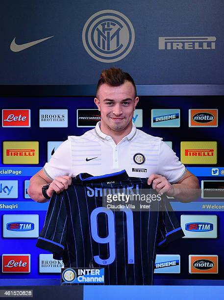 Xherdan Shaqiri poses for a photo during a press conference on January 14 2015 in Como Italy
