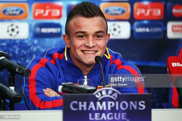Xherdan Shaqiri smiles during a press conference of FC Basel ahead of their UEFA Champions League Round of 16 first leg match against FC Bayern...