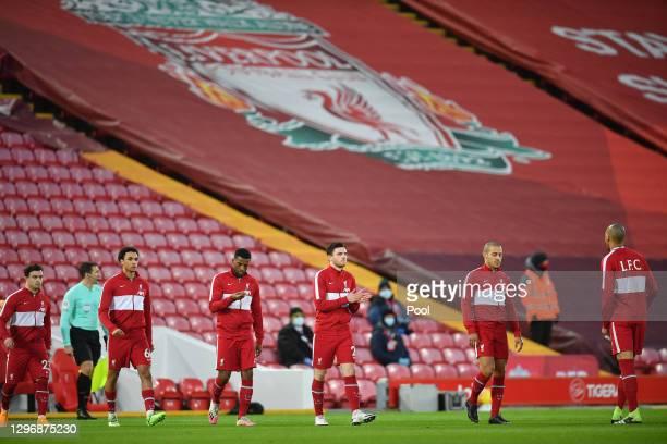 Xherdan Shaqiri, Trent Alexander-Arnold, Fabinho, Georginio Wijnaldum, Andy Robertson, Thiago Alcantara and Fabinho of Liverpool enter the pitch...