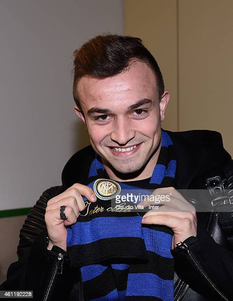 Xherdan Shaqiri who is set to join FC Internazionale Milano arrives at Malpensa Airport on January 8 2015 in Milan Italy