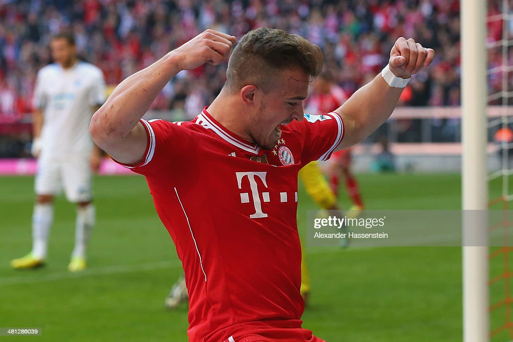 Xherdan Shaquiri of Muenchen celebrates scoring the second team goal during the Bundesliga match between FC Bayern Muenchen and 1899 Hoffenheim at Allianz Arena on March 29, 2014 in Munich, Germany.