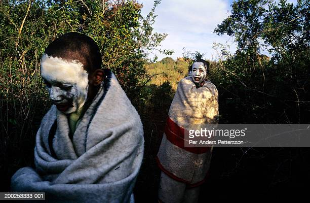 xhosa boys undertake manhood ceremony in rural eastern cape, south africa - circumcision stock pictures, royalty-free photos & images
