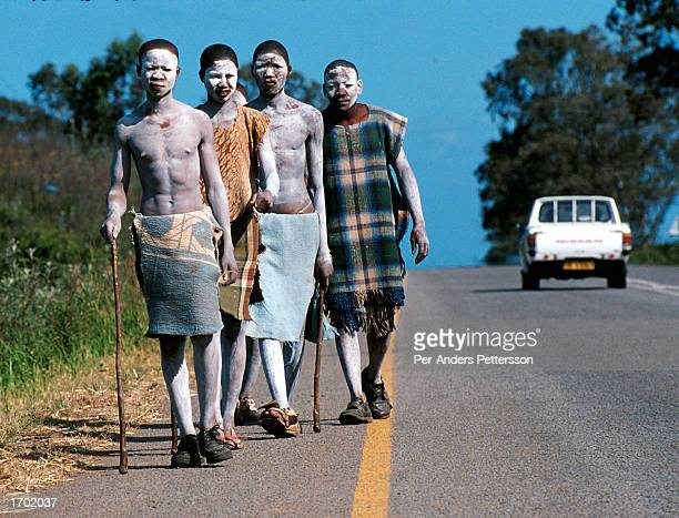 Xhosa boys walk along a road and sing traditional manhood songs as they go through a traditional manhood ceremony on August 20 2000 in Bisho in the...